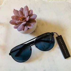 Quay Vivienne Black Aviator Style Sunglasses
